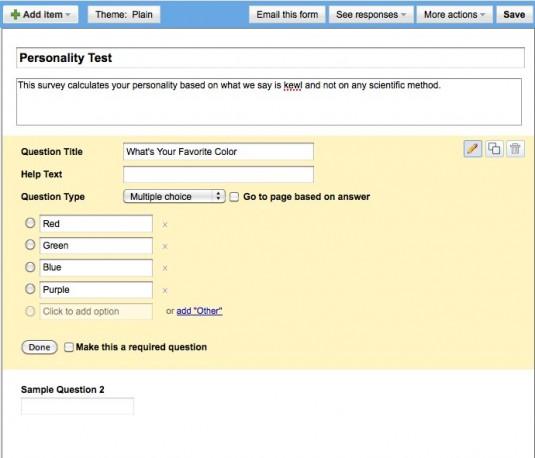 Google Docs Form Editor