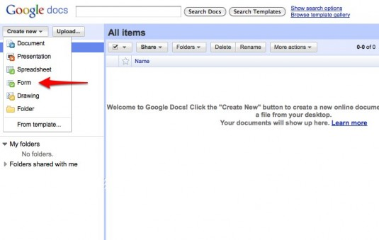 Create New Form in Google Docs