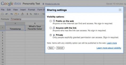 Google Docs Form Sharing Settings