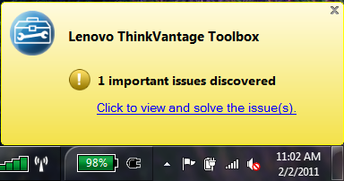 Lenovo ThinkVantage Toolbox Pop Up