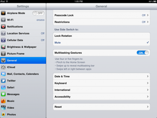 iPad Multitask Gesture