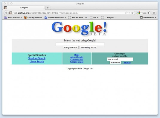 Google&#039;s Website Dec 11, 1998