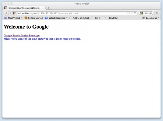 Google&#039;s Website Nov 11, 1998