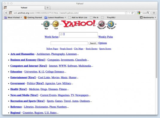 Yahoo's Website Oct 20, 1996